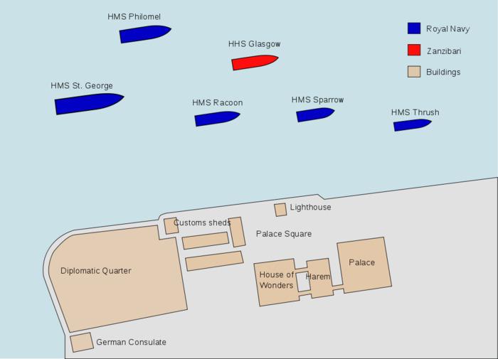 Положение кораблей противников 27 августа 1896 года. /Фото: wikipedia.org