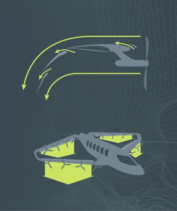 Схематическое изображение работы закрылок для направления тяги. /Фото: techcrunch.com