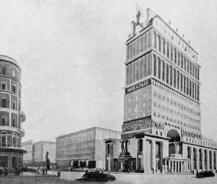 Масштабное здание ТАСС, которое не было построено. /Фото: ljplus.ru