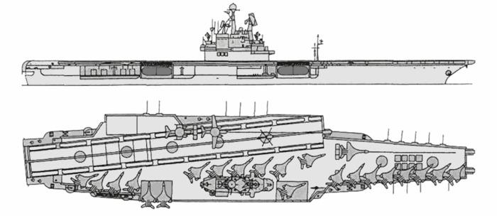 Чертёж нереализованного советского авианосца. /Фото: globalsecurity.org