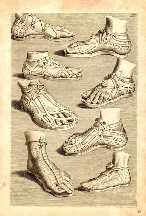 Обувь древних римлян. /Фото: pinterest.com