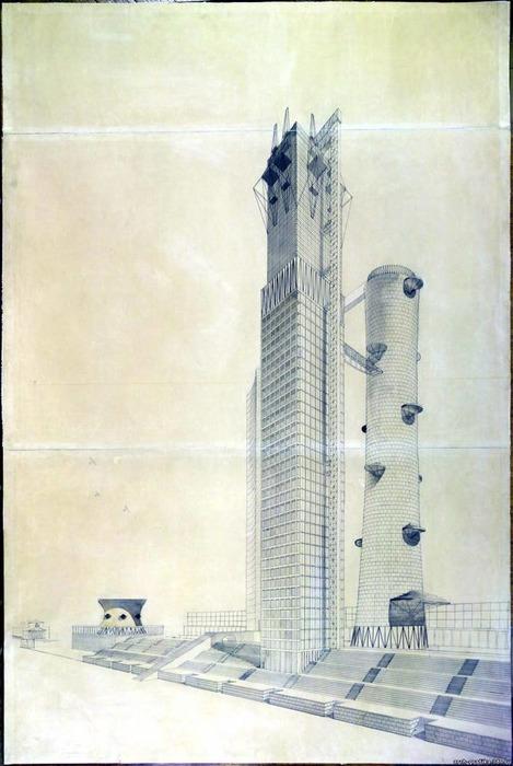 Пожалуй, этот вариант здания можно назвать самым смелым. /Фото: arch-grafika.ru