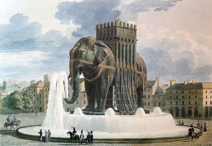Оказывается, в центре Парижа хотели поставить огромного слона. /Фото: blogspot.com