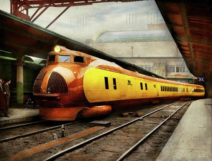Американский поезд-новатор, который ещё и выглядит необычно. /Фото: fineartamerica.com