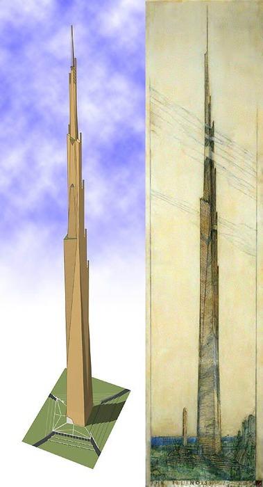 Компьютерная модель и эскиз нереализованного небоскрёба. /Фото: pinterest.com