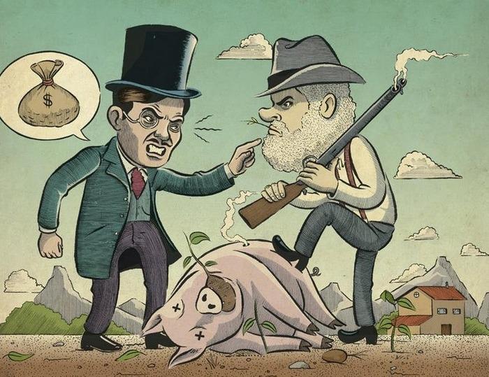 Конфликт, достойный упоминания в карикатурах. /Фото: vfl.ru