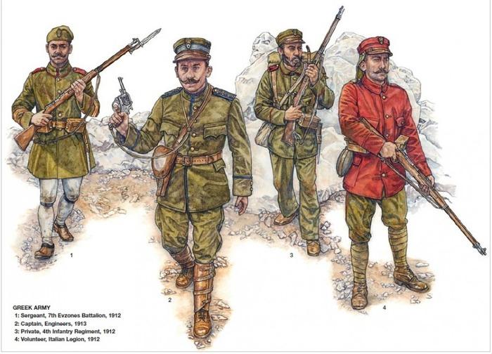 Солдаты греческой армии первой трети ХХ века. /Фото: livejournal.com