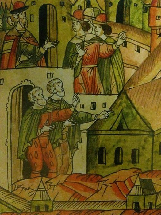 Итальянские зодчие во время строительства Кремля. Фрагмент миниатюры Лицевого летописного свода (1568—1576 гг.). /Фото: wikipedia.org