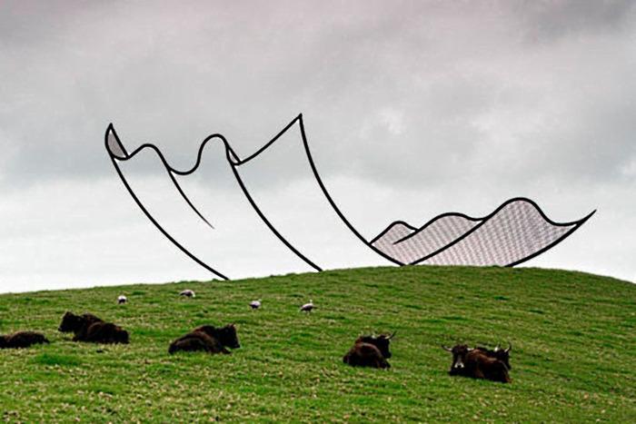 Реальная скульптура, которая выглядит как рисунок. /Фото: professionali.ru