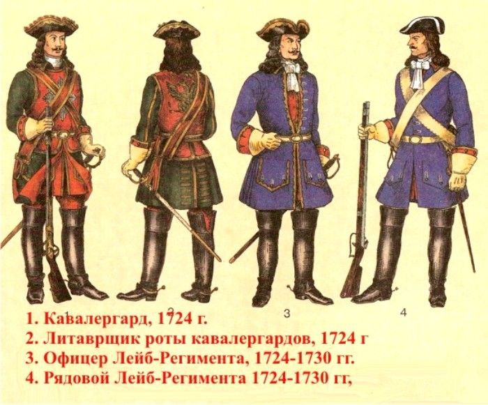 В военной форме времен Петра Великого уже появились шпоры. /Фото: forma-odezhda.ru