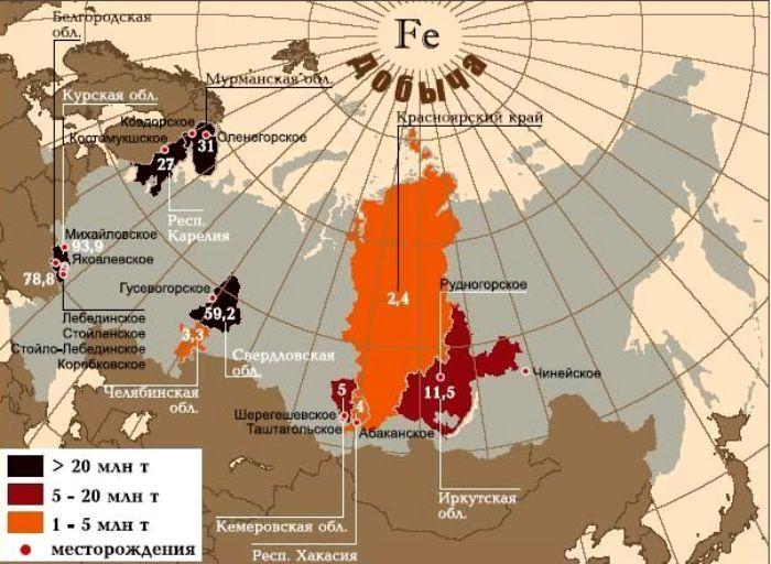 Абаканское месторождение на карте добычи железной руды России. /Фото: promtu.ru