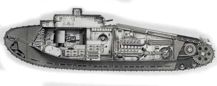 Танк Mk VIII в разрезе. /Фото: naukatehnika.com