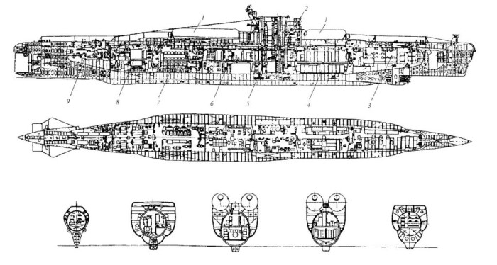 Чертежи подводной лодки проекта 613Э. /Фото: rusdarpa.ru