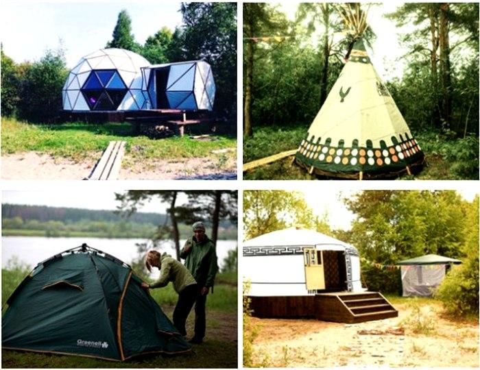 Самые разные виды жилищ для отдыха у реки на любой вкус. /Фото: msk-turizm.ru