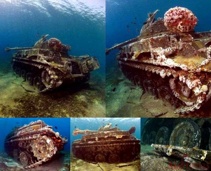 Танк, который стал частью подводного музея. /Фото: arabdivers.jo