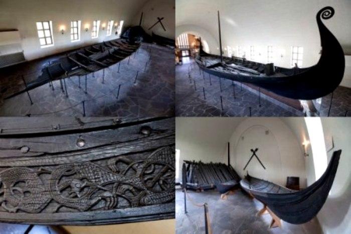 Ладьи викингов, найденные больше столетия назад в экспозиции музея в Осло. /Фото: tumblr.com