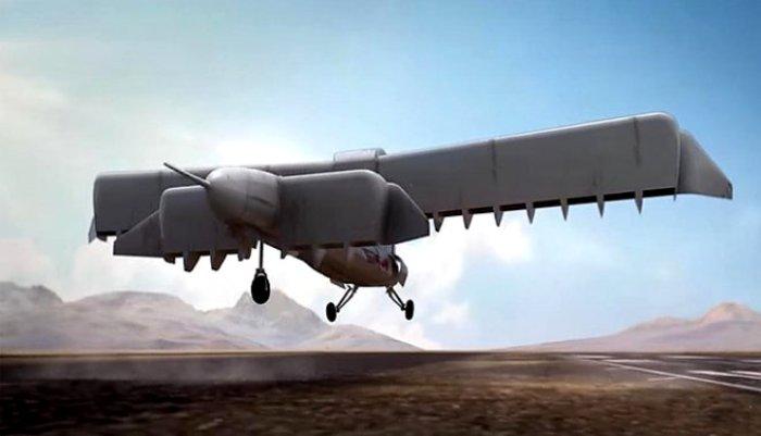 Крылья самолета в перпендикулярном земле положении. /Фото: techcult.ru