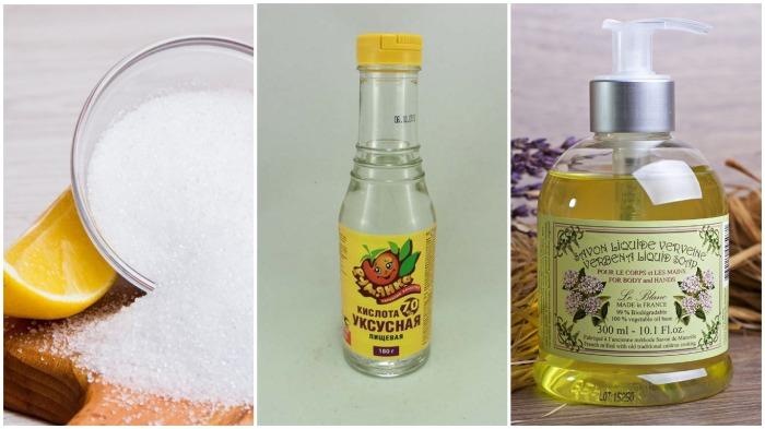 Для раствора понадобятся лимонная кислота, уксус и жидкое мыло / Фото: oblakavl.ru