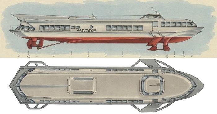 Теплоход на подводных крыльях был разработан еще в 50-х годах прошлого столетия Ростиславом Алексеевым / Фото: modelizd.ru