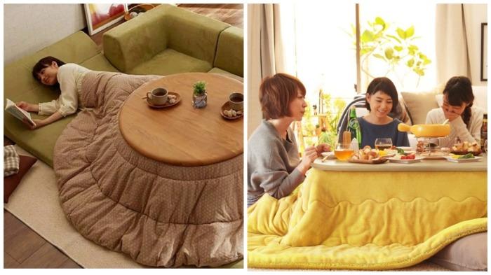 Котацу - универсальный столик для приема пищи, работы и сна / Фото: quiltry.blogspot.com