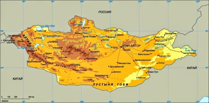 Площадь Монголии составляет 1 564 116 кв. км, страна занимает 18 место среди самых крупных государств / Фото: msofliosgeografia.blogspot.com