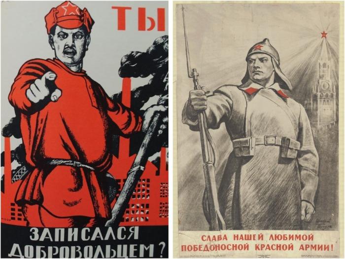После окончания «военной карьеры» буденовка долгие годы изображалась на агитационных плакатах / Фото: fi.pinterest.com
