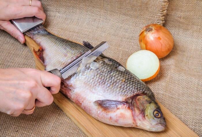 После того, как кипятком слегка обдали рыбину, можно снимать чешую / Фото: fb.ru