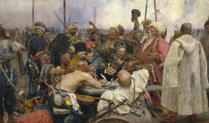 Репин на своей картине изобразил казака-банкомета с чубом, свисающим на правую сторону / Фото: fb.ru
