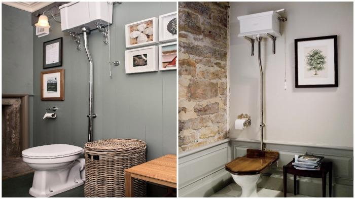 В современном интерьере такие варианты бачков тоже можно встретить, только не чугунные, а керамические / Фото: pinterest.fr