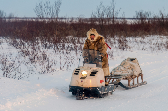 Чтобы набрать воду, оленеводы по морозу едут на снегоходе / Фото: go-rm.ru