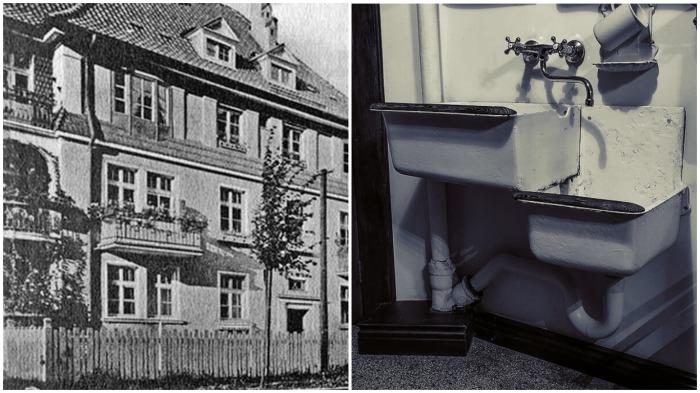 Особенное внимание привлекает двухэтажная раковина / Фото: pastvu.com