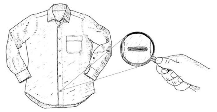 В большинстве моделей мужских рубашек нижняя петля горизонтальная / Фото: pikabu.ru