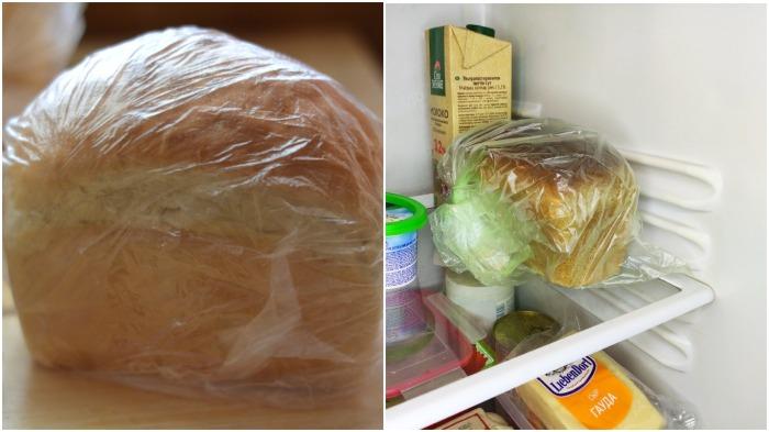 В полиэтиленовом пакете необходимо сделать несколько отверстий и хлеб поместить в холодильник / Фото: кхраму.рф