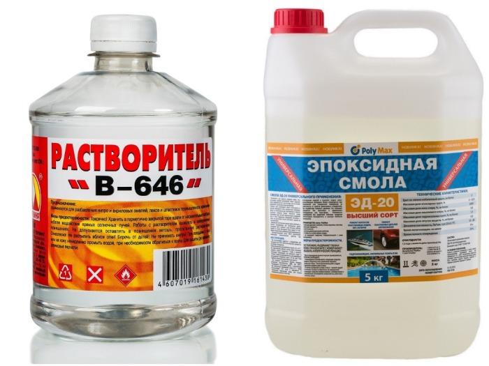почти все мастера-умельцы из Америки и Канады, не желающие покупать дорогие составы в магазинах, используют состав из растворителя 646 и эпоксидной смолы / Фото: ozon.ru