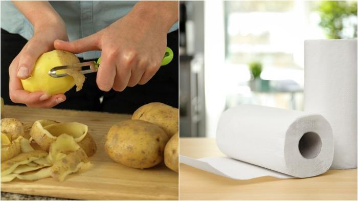 Картофелины необходимо очистить от кожуры, завернуть в газету или бумажное полотенце / Фото: 365news.biz