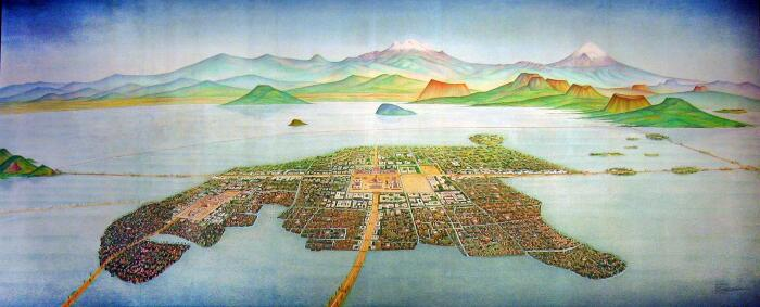 В древние времена Мехико стоял на воде, его даже сравнивали с Венецией / Фото: thinglink.com