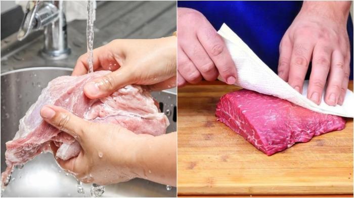 Мыть мясо категорически запрещается, достаточно его подсушить бумажным полотенцем / Фото: klevo.net