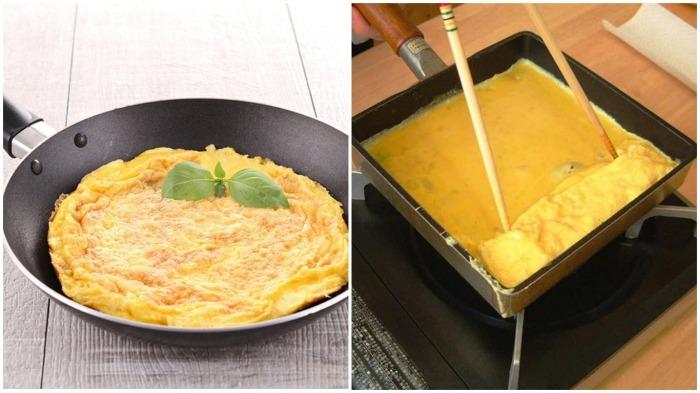Омлет, закрученный в роллы, удобнее готовить на прямоугольной сковородке / Фото: missw.ru