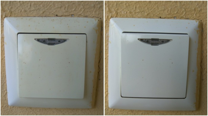 Пожелтевший выключатель, размещенный на внешней стене дома, с помощью димексида приобрел более свежий вид - жаль, что фасадная краска не ушла
