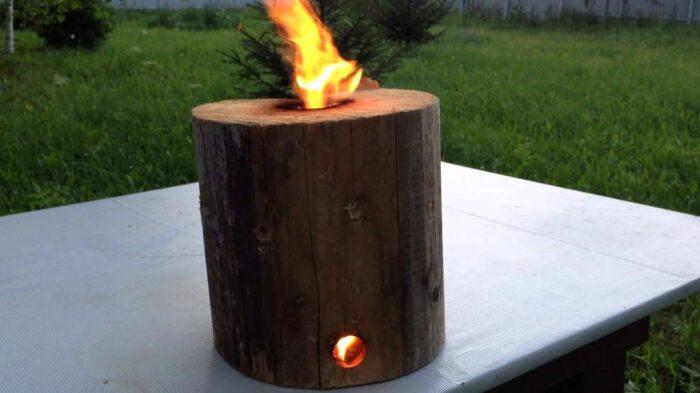 Отличной альтернативой огнищу будет вариант с поленом / Фото: krrot.net