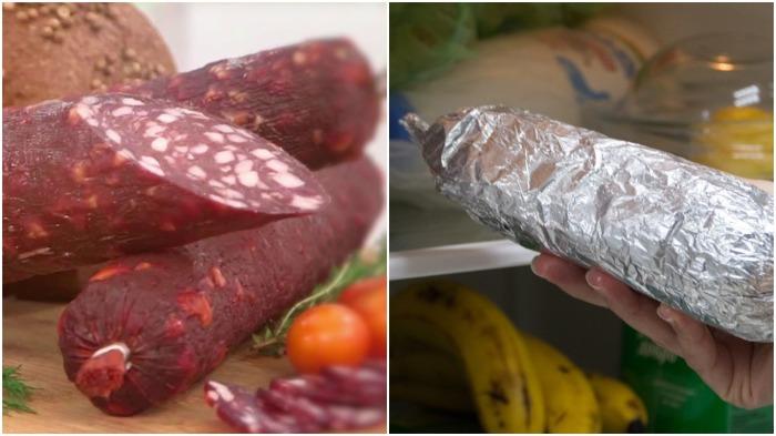 Завернутые в фольгу колбаса или сыр дольше сохранят свою свежесть и не пропитаются посторонними запахами / Фото: YouTube