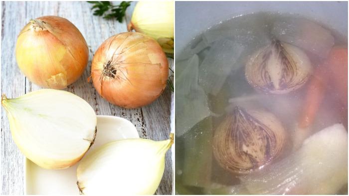 На сухой сковороде с двух сторон следует обжарить порезанные кусочками лук и морковь / Фото: tvcook.mirtesen.ru