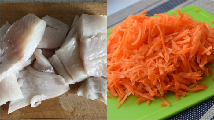 Минтай и морковь необходимо предварительно отварить / Фото: za-stol.ru