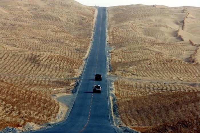 Угрозой для функционирования построенного шоссе стали песчаные бури / Фото: humanosphere.org