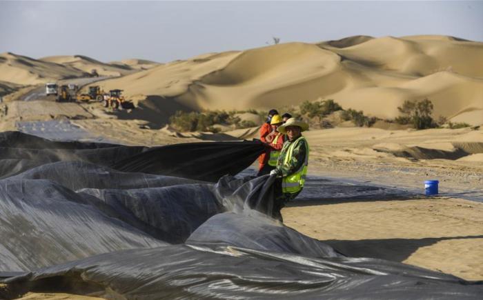 Благодаря неимоверным усилиям китайцев в пустыне вдоль дороги растут деревья / Фото: infochina.ru