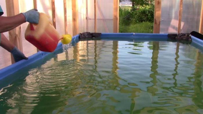 Раствор с содой просто выливаем в бассейн / Фото: youtube.com