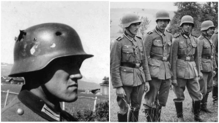 Существенное отличие немецких шлемов от советских заключалось толщине металла в области лба / Фото: panzer-travelandhistory.blogspot.com
