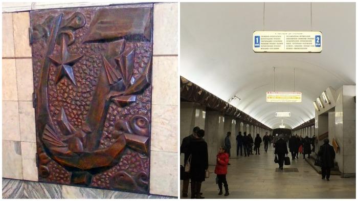 На путевой стене в Западном зале установлен медальон с изображением серпа и молота / Фото: ru.wikipedia.org