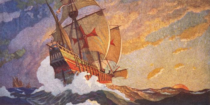 В 1502 г. Колумб совершил последнее из четырех путешествий и оказался в плену серьезного шторма недалеко от побережья Гондураса / Фото: mmozg.net