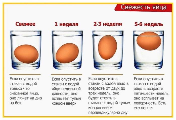 В случае, когда яйцо не погружается в воду, а всплывает, его стоит выбросить / Фото: svekrovi.net
